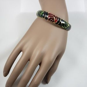 Jewelry - Black, Blue, Green & Red Bangle Bracelet Gold Tone